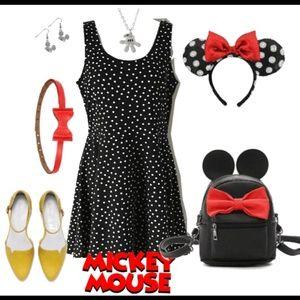 Black/White Polka Dot Fit & Flare Skater Dress